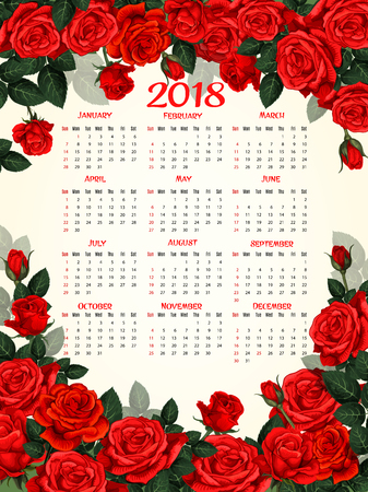Calendar template with red rose flower frame. Floral year calendar design, decorated by flower of garden rose with red blossom, bud and green leaf branch border Illustration