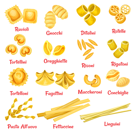 Pasta type with name poster of Italian traditional macaroni. Spaghetti pasta shape, ravioli and rigatoni, fettuccine, ditalini and linguine, conchiglie and tortellini for food packaging design