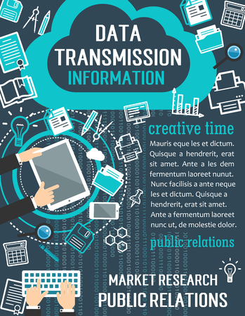 Public relations and market research banner. User with computer, mobile phone and tablet flat poster, supplemented by graph, idea light bulb and magnifying glass thin line symbol for PR concept Vektoros illusztráció