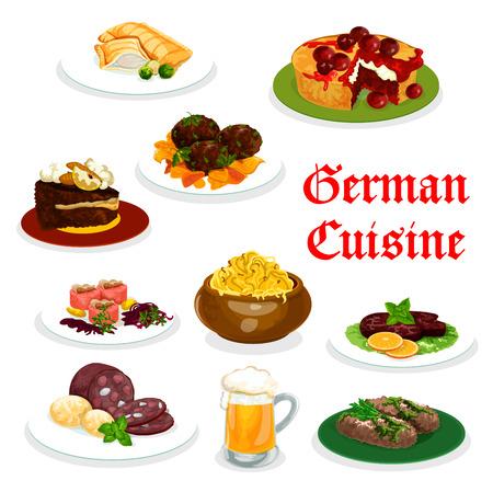 Icône de la cuisine allemande de la cuisine traditionnelle. Purée de pommes de terre avec poisson et viande labskaus, saucisse et rouleau de viande, ragoût de chou, tourte de poisson au saumon et steak de bœuf, boulettes de viande et gâteau au chocolat et aux cerises