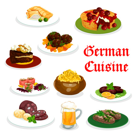 German cuisine icon of traditional food. Mashed potato with fish and meat labskaus, sausage and meat roll, cabbage stew, salmon fish pie and beef steak, meatball and chocolate cherry cake Illustration