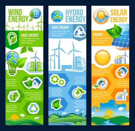 Oszczędzaj energię eko banner z odnawialnym zasobem ekologii i przyjaznej dla środowiska energii. Zielony dom miejski z panelem słonecznym, turbiną wiatrową i ulotką elektrowni wodnej ze znakiem recyklingu i zielonym liściem