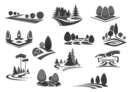 Nature landscape of park and forest isolated icon set. Summer tree and plant, grass field, decorative lawn and forestland meadow symbol. Ecology, outdoor recreation, landscaping and gardening design