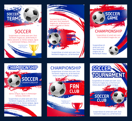 Vector world soccer championship posters with information. Soccer team club, fun club and soccer tournament or game match design of champion winner stars and crown, football player team league flags Ilustrace