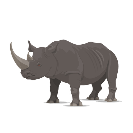 Rhinoceros wild animal vector icon side view. Wild wapiti mammal rhinoceros species for wildlife fauna and zoology or hunting sport team trophy symbol and nature zoo adventure club design