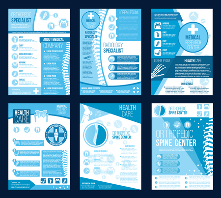 Broszury ośrodka zdrowia ortopedii dla broszury firmy zajmującej się badaniami ortopedycznymi w zakresie radiologii. Wektor płaska konstrukcja stawów ciała i kości kręgosłupa w szpitalu terapii korekcyjnej lub diagnostyce ortopedycznej