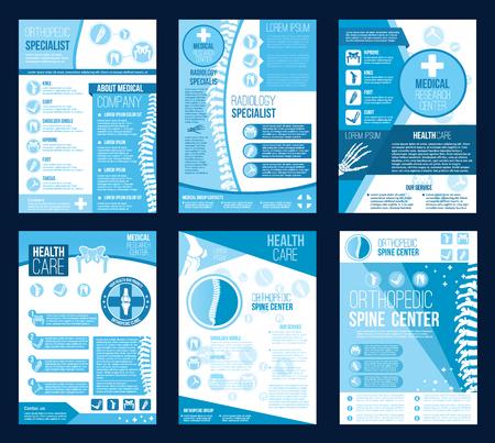 Orthopedie gezondheidscentrum brochures voor radiologie orthopedisch onderzoek bedrijfsbrochure. Vector plat ontwerp van lichaamsgewrichten en wervelkolom botten voor corrigerende therapie ziekenhuis of orthopedische diagnostiek
