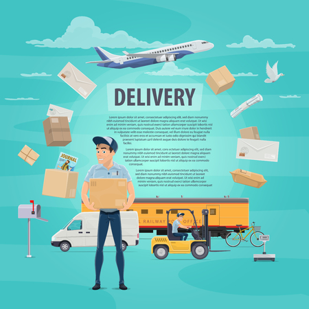 Post mail delivery poster for postage logistics. Vector flat design of postman or mailman delivering letters envelopes and parcels on delivery air air and train transport vehicles for courier shipping Ilustração