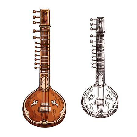 Indian sitar musical instrument color sketch icon. Vector isolated vina or beena and bina lute symbol for folk music concert or jazz band live festival and orchestra musical performance design