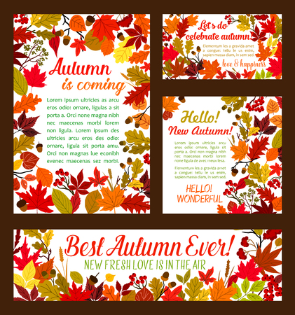 Autumn is coming posters or banners templates set for seasonal holiday or greeting card vector design. Autumn rowan berry harvest, leaf foliage of oak acorn, chestnut or elm and maple leaf Ilustração