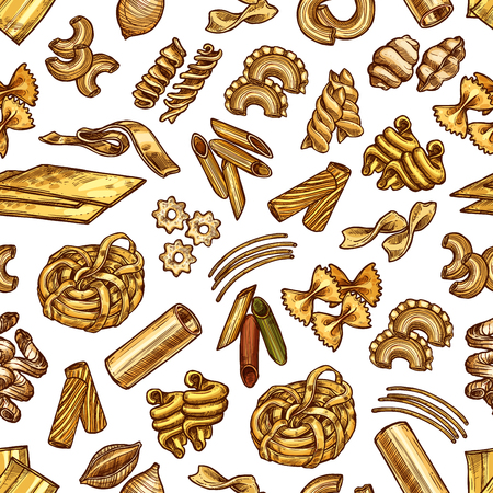 Pasta and spaghetti sketch seamless pattern. Vector traditional Italian cuisine pasta background of macaroni, lasagna or and fettuccine, ravioli or pappardelle and farfalle or tagliatelle