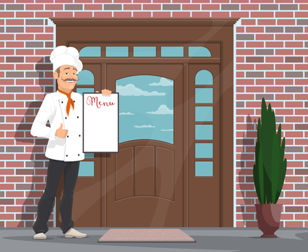 Chef with menu inviting to restaurant or cafe. Vector flat design of restaurant facade door and man chef in hat and red scarf holding menu and showing thumb up and invite to cafe or bar