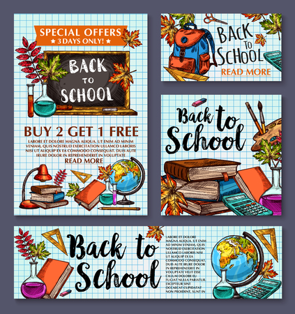 Back to School sale posters and banners set for special promo sale. Vector design of school chalkboard, book or pencil or globe, maple or rowan leaf and ruler on checkered copybook for autumn sale