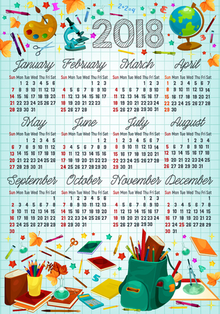 Back to school 2018 year calendar template design