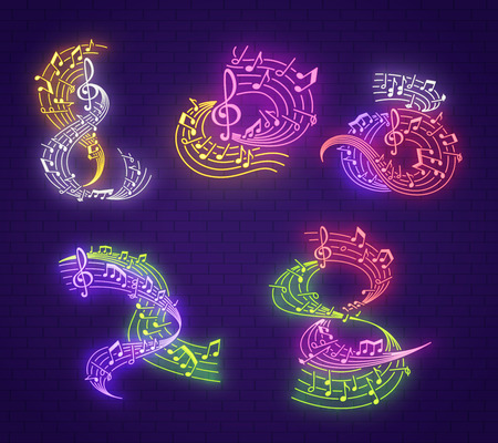 Musical note neon signboard for music club party