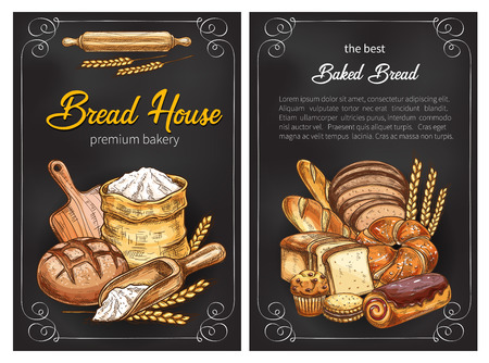 Vector bread sketch posters for premium bakery Banque d'images - 101761016