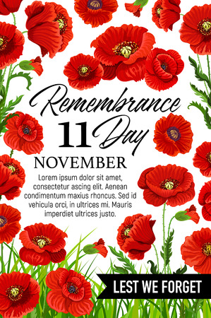 11 November poppy remembrance day vector card Vettoriali