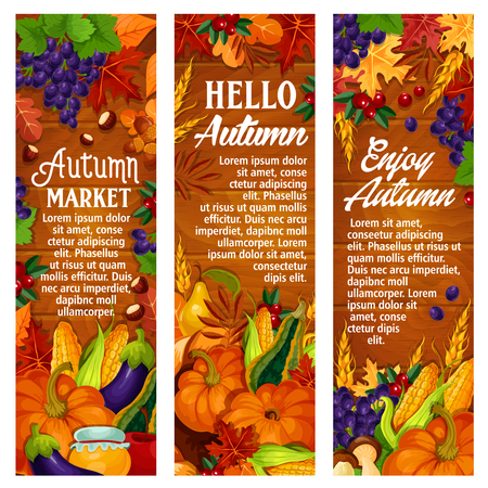 Autumn vector leaf fall, harvest season banners Иллюстрация