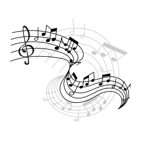 Vector music notes on staff icon