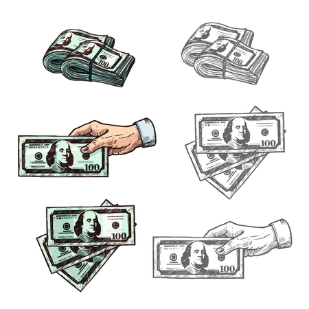 Dollars and hand with money vector sketch icons