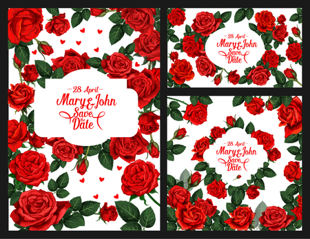 Flowers vector invitation of Save the Date wedding Illustration