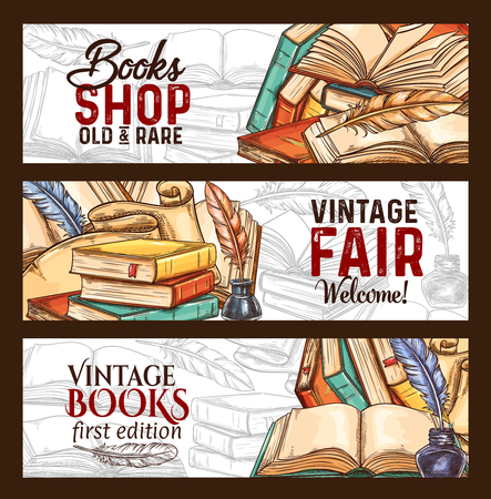 Vector sketch banners vintage books shop fair Banco de Imagens - 101761067