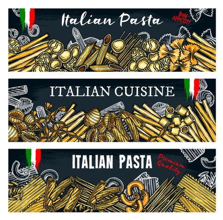 Italian pasta vector banners