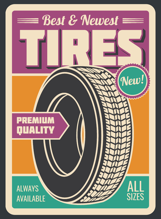 Tires car service retro style