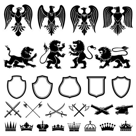 Heraldic elements vector set Çizim
