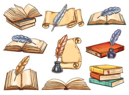 Vintage books vector set Illustration