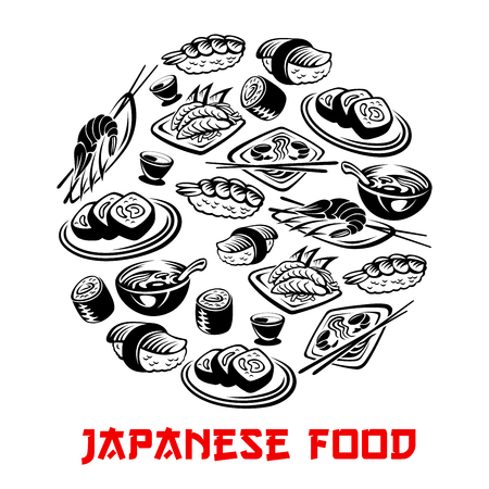 Japanese food poster and vector sushi and rolls