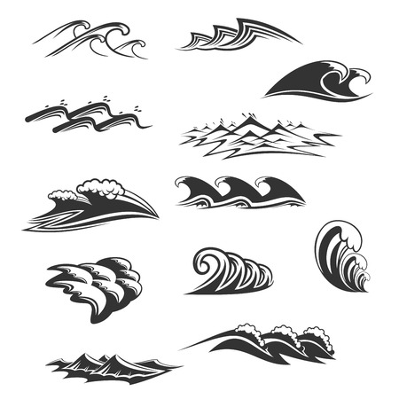 Sea waves icons vector set