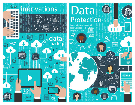 Data protection internet innovation vector poster
