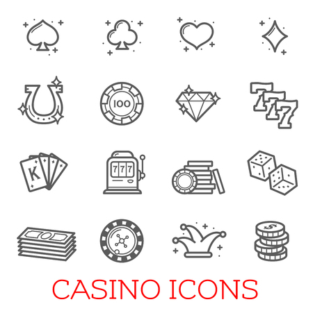 Casino symbols vector set Illustration