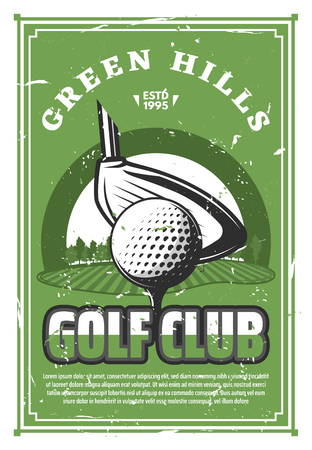 Golf sport club vintage banner with ball on tee