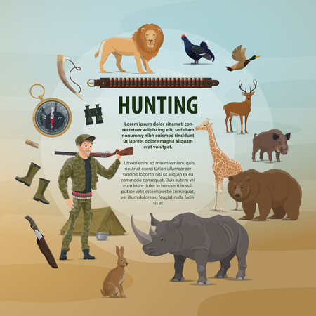Vector poster hunting concept Vectores