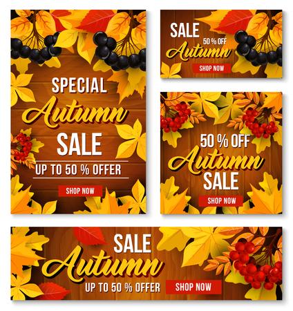 Autumn sale online discount vector poster, banner