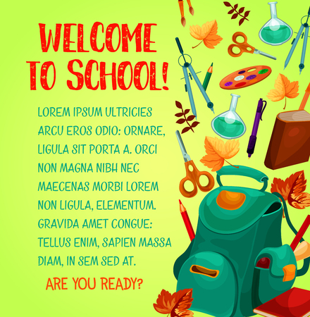 Back to school welcoming poster, education design