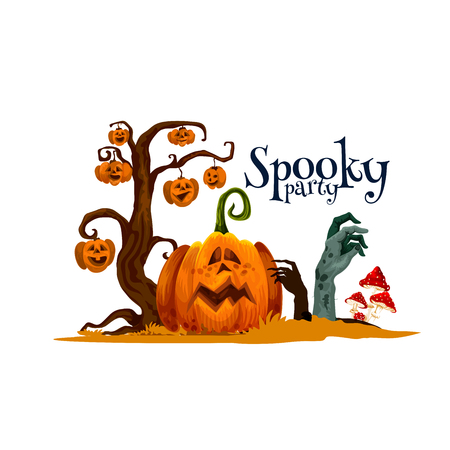 Halloween pumpkin card for horror party invitation Stock Illustratie