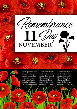 Remembrance Day poppy flower memorial card