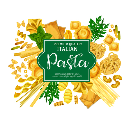 Italian pasta poster with macaroni food and herb