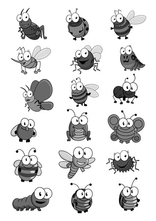 Insects and bugs vector cartoon comic icons set Banque d'images - 102422207