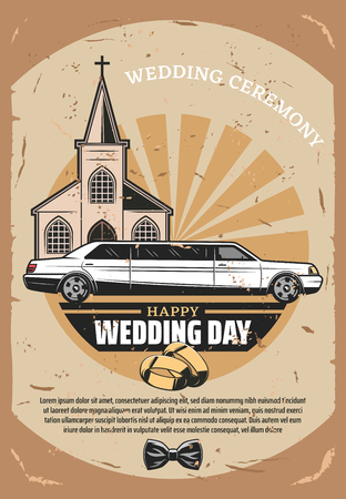 Happy Wedding Day retro greeting card design