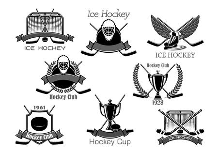 Ice hockey club tournament cup award vector icons Illustration