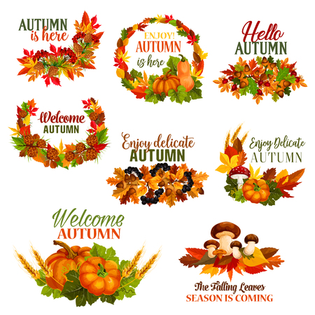 Autumn Welcome Hello Fall vector leaf wreath icons