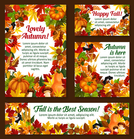 Autumn acorn leaf, pumpkin vector greeting posters