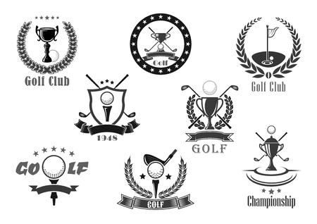 Jeu d'icônes vectorielles de prix de championnat de club de golf