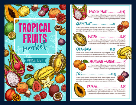 Tropical fruits vector template Illustration