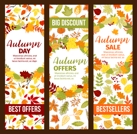 Autumn sale discount promo fall seasonal banners Illustration