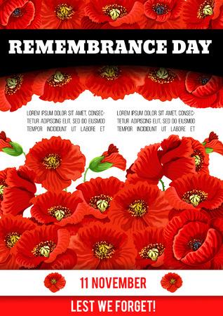 Vector poppy poster of Remembrance day 11 November Illustration